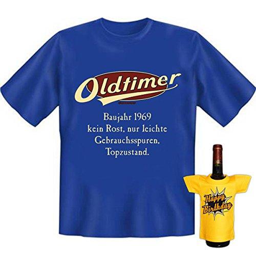 Geburtstags Set T-Shirt + Mini für die Flasche <->          Oldtimer Baujahr 1969          <->           Royal-Blau, ein kleines lustiges Geschenk Goodman Design® Royal-Blau