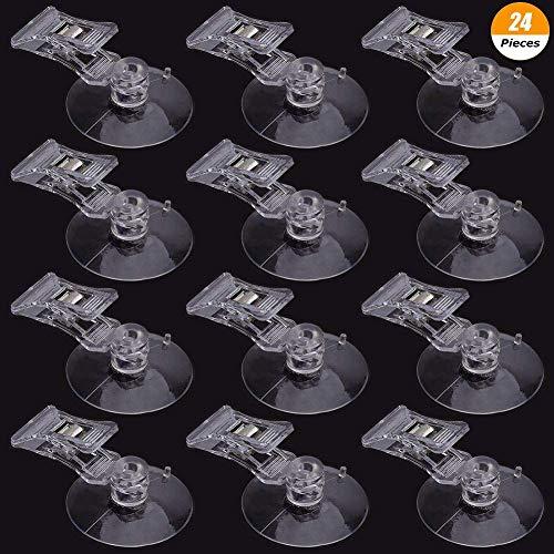 DraguimeL 24 Stück 40 mm Saugnapf Clip Werbung Pop Display Schild Clips Visitenkartenhalter Ständer Klammern