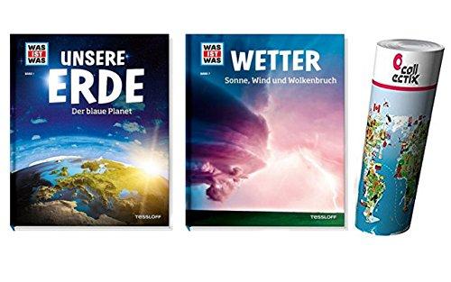 WAS IST WAS Sachbuchreihe, Band: 001 - Unsere Erde - Der blaue Planet + WAS IST WAS Sachbuchreihe, Band: 007 - Wetter - Sonne, Wind und Wolkenbruch + gratis Weltkarten Poster by Collectix