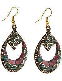 Apnaa Tibetan Style Hanging Hook with Inlay Work Earrings