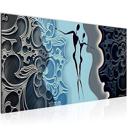 Photo Figures abstraites Décoration Murale 100 x 40 cm Toison - Toile Taille XXL Salon Appartement Décoration Photos d'art Bleu 1 parties - 100% MADE IN GERMANY - prêt à accrocher 301512b