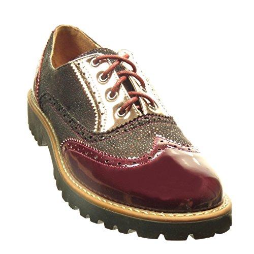 Angkorly Damen Schuhe Brogue Schuh Derby-Schuh - Patent - Perforiert Blockabsatz 3 cm cm Burgunderrot