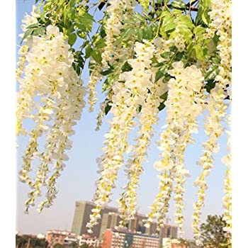12pcs Lot Artificial 105CM Home Decor Wisteria Silk Flower Holiday Decoration Weddings Events Simulation White By FatColo