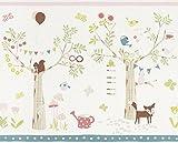 Rasch Bordüre 5 x 0,425 m - Ansatzfrei - Feine Struktur - Stil: Kinder Tiere - z.B. Kinderzimmer - Farbe: Lachs Weiß