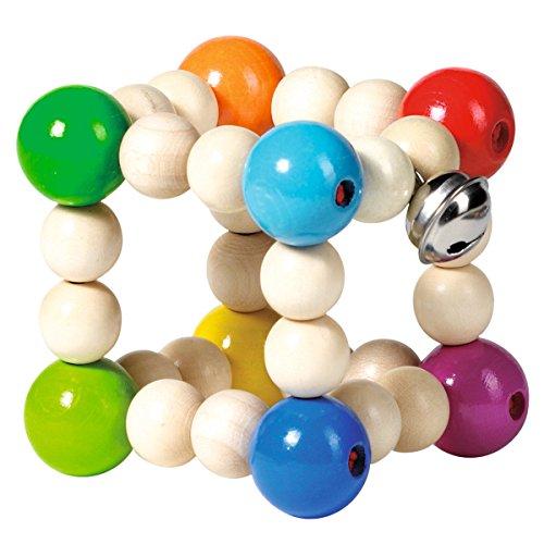 solini Greifling Würfelform - Baby-Spielzeug mit Holzperlen zum Greifen und Rascheln - Holzspielzeug mit Glocke - ab Geburt geeignet