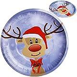 Unbekannt großer Teller / Plätzchenteller - süßes Rentier - Ø 26,5 cm - rund - Mehrweg - Blech / Metall - Weihnachtsteller / Keksteller - Weihnachten - Plätzchenschüsse..