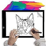 Caja de Luz para Calcar-Slopehill A4 Mesa de Luz LED de Iluminación Tablero de Trazado de Dibujo y Copia, Luminosidad Ajustable ,Micro USB, Más de 50000 Horas de Vida Útil, Ideal para Dibujar Tatuaje Sketching Diseño Artesanía, Animación