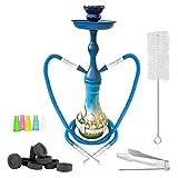 Mianova Orientalische 2er Shisha Wasserpfeife für Partner Höhe 45cm Moschee Blau Set mit 2 Schläuche 5 Mundstücke Zange Kohle 1 Rolle