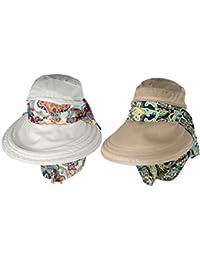 Gazechimp 2x Casquettes Femme Chapeau À Bord Large Anti UV Protecteur Vêtement Accessoire