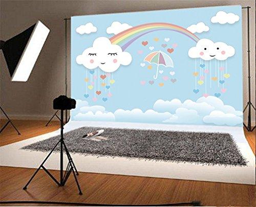 YongFoto 2,2x1,5m Vinyl Foto Hintergrund Kawaii Wolke und Regenbogen Blauer Himmel Fotografie Hintergrund für Fotoshooting Portraitfotos Party Kinder Hochzeit Fotostudio Requisiten