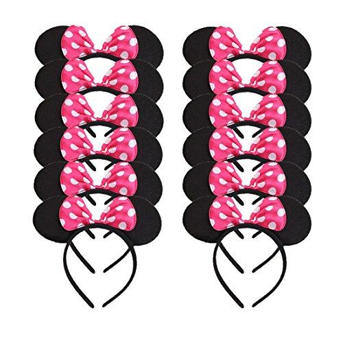 12 Stücke Mickey Minnie Stirnbänder für Geburtstag Halloween Partys Mama Jungen Mädchen Haarschmuck Schöne Maus Ohren Haarreife Dekorationen (Rose) (Mouse-halloween-kostüme Minnie Erwachsene)