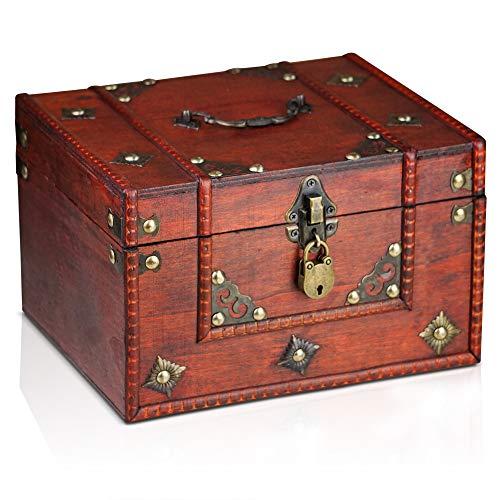 Brynnberg Caja de Madera Dominique 24x20x15cm - Cofre del Tesoro Pirat