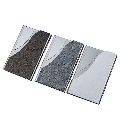 Zhenhui Visitenkartenetui / Vistenkartenhalter aus Edles PU Leder und hochwertiger Edelstahl- 9cm*6.5cm*1cm Visitenkarten-Etui ist angenehm klein und handlich (silber)