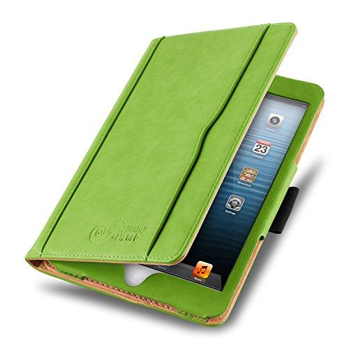 JAMMYLIZARD Hülle für iPad Mini | Ledertasche Flip Case [Business Tasche] Leder Smart Cover Lederhülle für iPad Mini 4. 3. 2. & 1. Generation, Grün & Honig [mit Eingabestift & Pencil Halter]