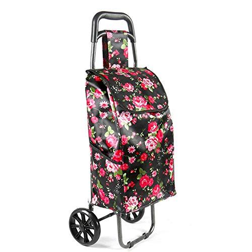 ZHONGXIN Wasserdicht Einkaufstrolleys, Einkaufstrolley Einkaufsroller Einkaufswagen 2 Räder Faltbar tragbar Eltern Rote Blumen
