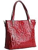 Damen Mode Echtes Leder Handtasche Elegant Taschen Rot
