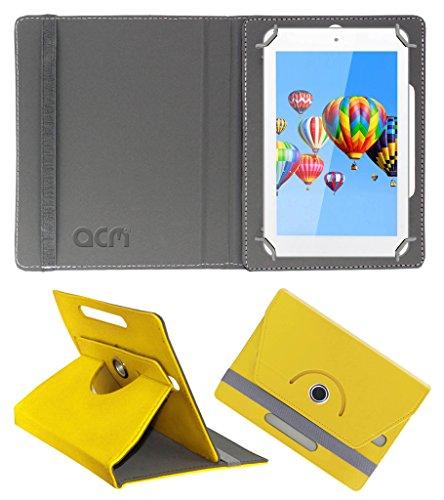 Acm Rotating 360° Leather Flip Case for Digiflip Pro Et701 Tab Cover Stand Yellow  available at amazon for Rs.149
