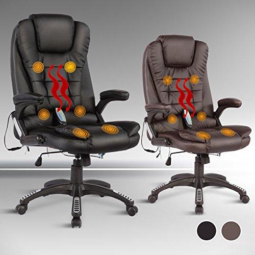 UEnjoy Massage-Bürostuhl 6-Punkt-Massagesessel Relax Sessel Drehstuhl Chefsessel Kunstleder Schwarz