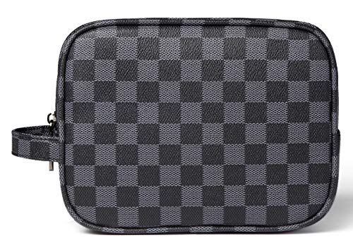 Daisy Rose Luxus Checkered Make Up Bag | Pu Vegan Leder Cosmetic Toiletry Reisetasche Klein Schwarz