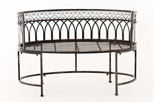 CLP Metall-Gartenbank AMANTI mit Armlehne, Landhaus-Stil, Eisen lackiert, Design antik nostalgisch, Form oval ca. 110 x 55 cm Bronze - 2