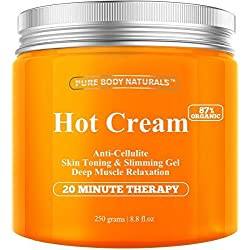 Anti Cellulite Cream & Muscle Relaxation Cream HUGE 8.8oz, 100% Natural 87% Organic - Cellulite Treatment Hot Gel Cream, Firms Skin, Slims & Reduces Fat Appearance - Muscle Rub Cream, Muscle Massager