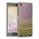 kwmobile Funda para Sony Xperia X - Carcasa de TPU para móvil y diseño de Sol hindú en Amarillo/Rosa Fucsia/Transparente