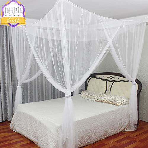 Digead zanzariera letto, zanzariera a quattro porte/baldacchino del letto, universale per letto di tutte le dimensioni, zanzariera quadrata bianca