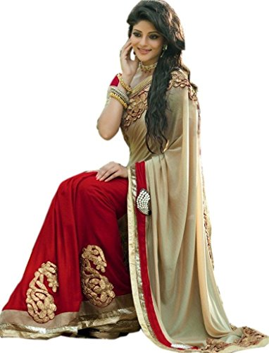 Glory Sarees Georgette Saree (Mb513_Red And Beige)