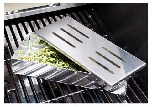 512Ezsx8TvL - Santos Smokerbox Räucherbox Edelstahl Grillzubehör für Gasgrill, Kohlegrill und Kugelgrill  Aromabox Maße 21x13x3,4 cm