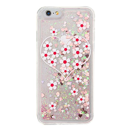 MOONCASE iPhone 6S Coque, Glitter Sparkle Bling Liquide Transparent Étui Coque pour iPhone 6 / 6S (4.7 inch) Soft TPU Gel Souple Case Housse de Protection (Love flower Pattern) Love flower