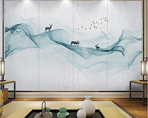 Yosot Abstrakte Tintenleitungen Rauch Landschaft Wasser Marmor Tapeten Living Room Bar Fernseher Sofa Wand Schlafzimmer Küche 3D Wandbild-300Cmx210Cm (Rauch Blättern)