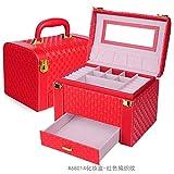 Meydlee Stile Europeo di 3 strati di alta capacità Jewelry Box Organizzatore di velluto interni idee regalo , red