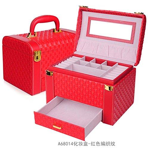 Meydlee European Style 3 Schicht-große Kapazitäts-Schmuck-Box Organizer mit Samt-Innen Geschenk-Ideen , red (Asos-tier)