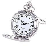 Uhren Herren Wasserdicht Sport Luxus-Edelstahl-Quarz-Militärsport-Lederband-Vorwahlknopf Crown Unisex Mode Bronze Kette Halskette Taschenuhr (Silber)