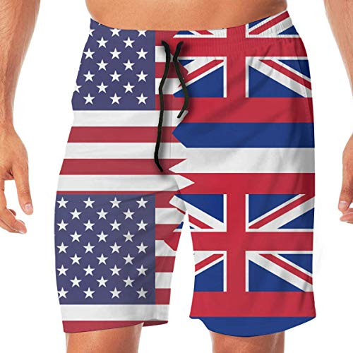 Generic Men's Swimming Shorts American Hawaii State Flag Quick Dry Beach Board Short with Pocket,XL -