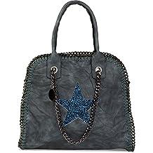 88c1d6163a046 styleBREAKER Shopper Handtasche mit Kette und Pailletten Stern Cutout