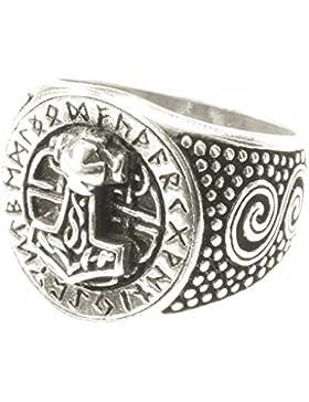 WINDALF Wikinger Ring DONAR FUTHARK h: 1.7 cm Thorshammer mit Runen 925 Sterlingsilber
