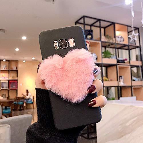 LCHULLE Funda Samsung Galaxy S8 Plus Carcasa de Silicona Suave Ultra Fina 3D Amor Carcasa Felpa Absorción de Choque Anti-Rasguño Resistente Huellas Dactilares Cubierta Protectora,Rosa & Negra