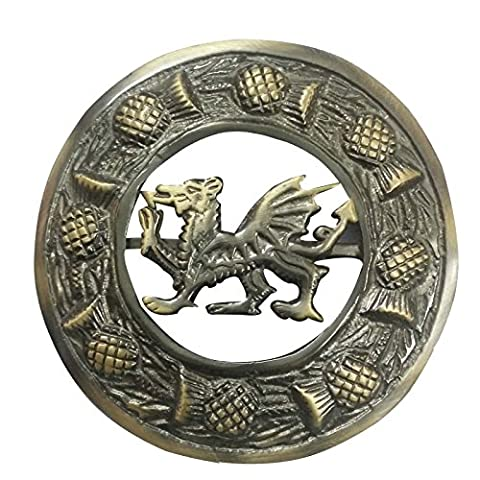 Mens Celtic Kilt Fly Plaid Brooches Antique Finish/Celtic Welsh Dragon Brooch