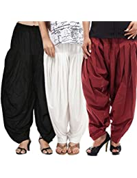 Rooliums (Brand Factory Outlet) Full Patiala Cotton Salwar Combo 3 Free size (Black, White and Maroon)