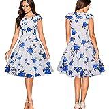 Damen Retro Kleid SUNNSEAN Frauen Floral Drucken Sommerkleid Mode Elegante Taille Partykleider Großer Rock Strandkleider Festliche Hepburn Schlank Kleid (M, Blau)
