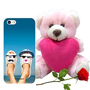 Homesogood Lovely Stylish Couples Blue 3D Mobile Case for iPhone 5 / 5S (Back Cover) with Teddy & Red Rose