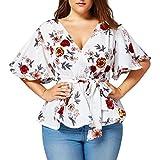 Overdose Mode Damen Sommer Blumendruck Plus Size Belted Surplice Schößchen Bluse V-Ausschnitt Tops Frauen T-Shirt Oberteile(Weiß,XXL)