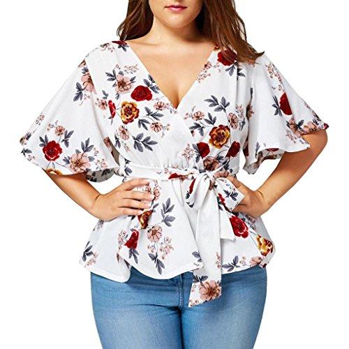 Overdose Mode Damen Sommer Blumendruck Plus Size Belted Surplice Schößchen Bluse V-Ausschnitt Tops Frauen T-Shirt Oberteile(Weiß,5XL) -