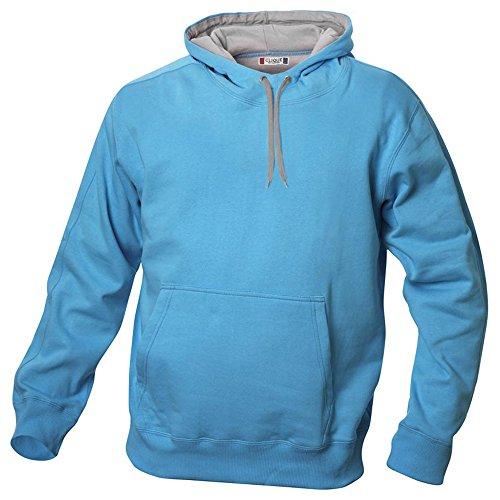 Kapuzen Sweater Sweatshirt Hoody mit kontrastfarbener Kapuze in 14 Farben und den Grössen S, M, L, XL, XXL, 3XL und 4XL Türkis