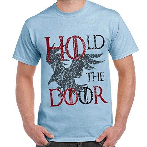 T-Shirt Game Of Thrones Hodor Maglietta Uomo Trono di Spade Stampa Hold The Door CHEMAGLIETTE! ..., Colore: Celeste, Taglia: XL