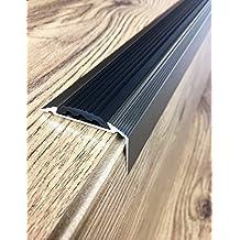 Anodised Aluminium Stair Nosing Edge Trim Step Nose Edging Nosings - TITANIUM, SILVER, GOLD -1.20 METER LENGTH Arbiton By TMW Profiles (Titanium)