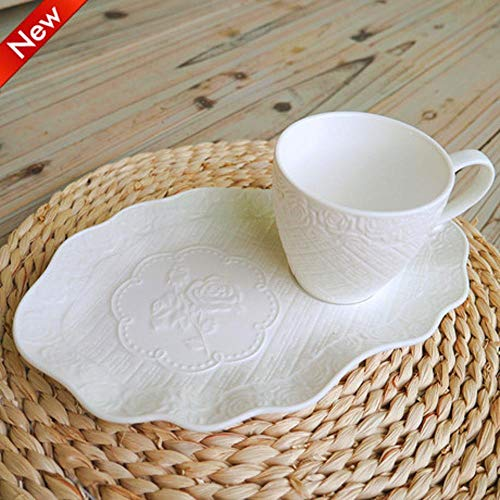 LIUQIAN Kaffeeset Kaffeeset Continental geprägte Rose Tasse und Untertasse Nachmittagstee Keramik Tasse