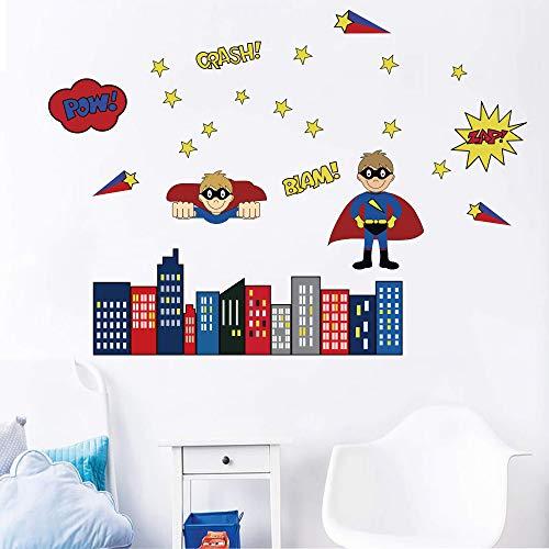 decalmile Superhéroe Pegatinas de Pared Adhesivo Decorativos para Bebés Niño Habitación Infantiles