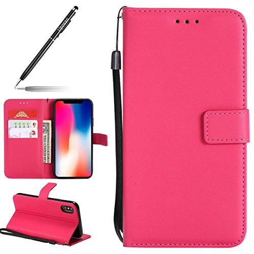 Uposao Kompatibel mit Handyhülle iPhone XS Handytasche Bookstyle Retro Männer Leder Wallet Klapphülle Flip Case Kunstleder Cover Tasche Brieftasche Schutzhülle Lederhülle Ledertasche,Hot Pink